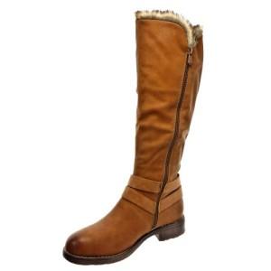Kickly - Zapatillas de Moda Botas Botines Rodilla mujer forradas en piel piel reversible Talón Tacón ancho 3 CM - Camel