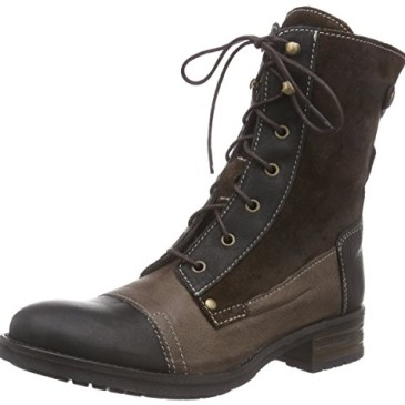 Mustang Schnür-Booty – botas de cuero mujer
