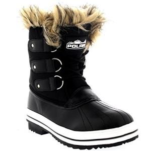 Mujer Manguito De Piel Cordones Caucho Corto Nieve Lluvia Zapato Botas