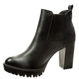 Angkorly - Zapatillas de Moda Botines chelsea boots mujer brillantes tachonado Talón Tacón ancho alto 9.5 CM - plantilla Forrada de Piel - Negro
